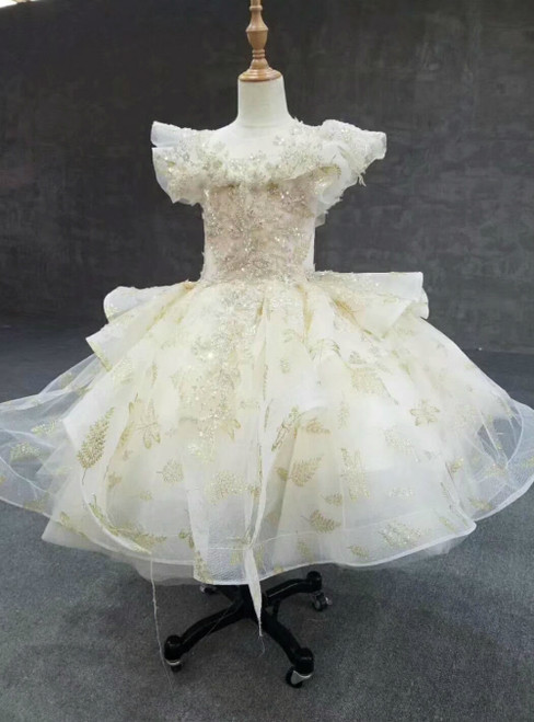 Champagne Tulle Sequins Backless Flower Girl Dress With Beading