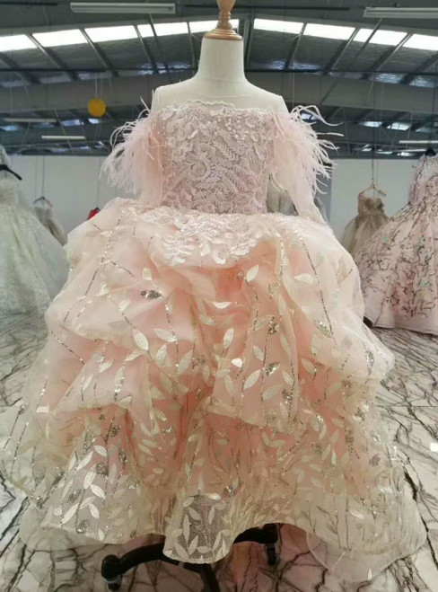 Pink Ball Gown Tulle Sequins Long Sleeve Luxury Flower Girl Dress With Beading