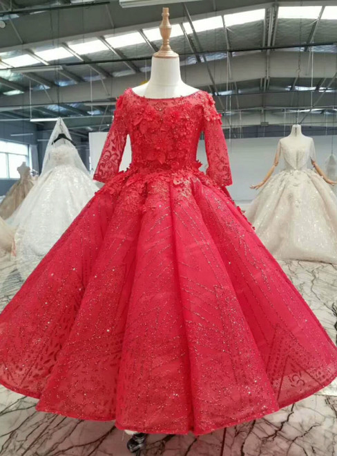 Red Ball Gown Sequins Short Sleeve Flower Girl Dress With Beading