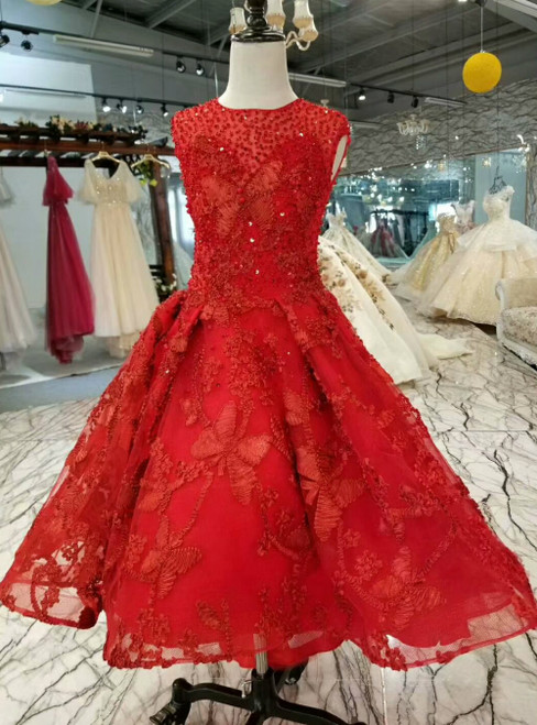 A-Line Red Lace Tulle Luxury Flower Girl Dress With Beading