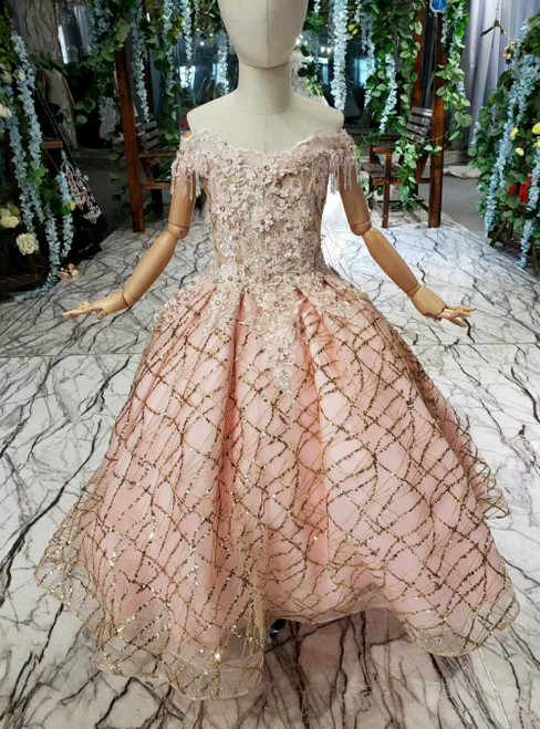 Pink Tulle Sequins Off the Shoulder Appliques Flower Girl Dress With Beading