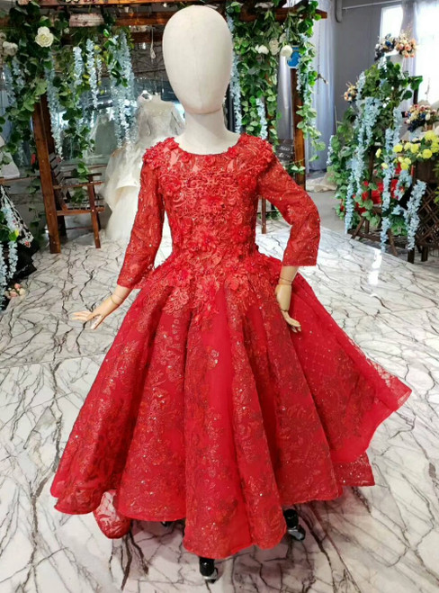 Red Ball Gown Tulle Sequins Long Sleeve Appliques Flower Girl Dress