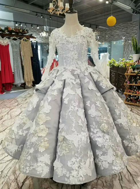 Gray Tulle Long Sleeve Butterfly Appliques Flower Girl Dress