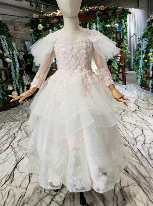 Ivory White Tulle Sequins Backless Long Sleeve Flower Girl Dress