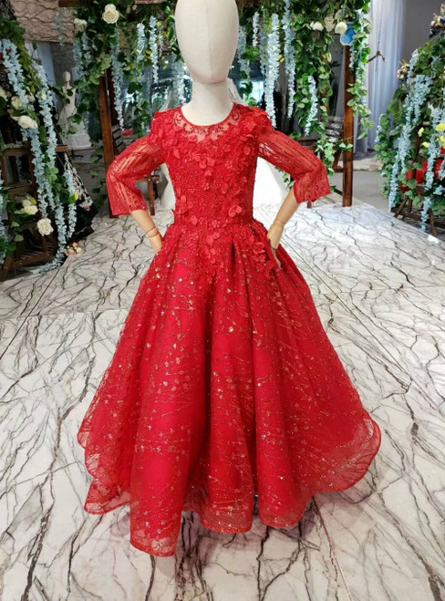 Red Ball Gown Tulle Sequins Long SLeeve Appliques Flower Girl Dress With Beading
