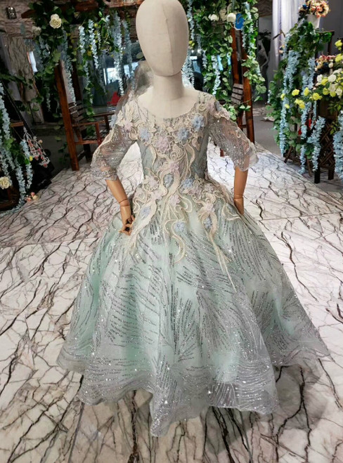Gray Tulle Sequins Short Sleeve Appliques Flower Girl Dress