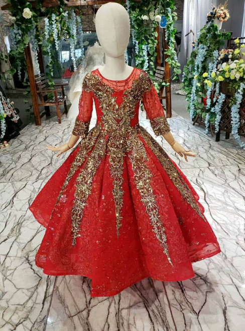 Red Ball Gown Tulle Sequins Short Sleeve Gold Sequins Appliques Flower Girl Dress