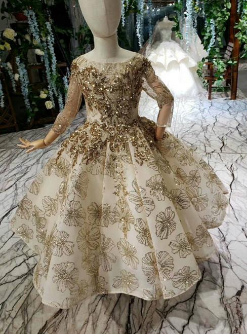 Champagne Gold Sequins Tulle Long Sleeve Flower Girl Dress