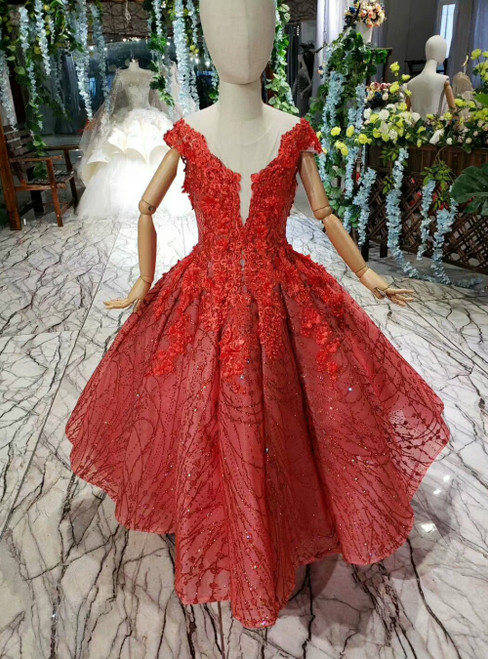 Red Tulle Sequins Cap Sleeve Backless Appliques Luxury Flower Girl Dress