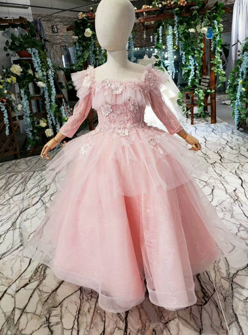 A-Line Pink Tulle Long Sleeve Appliques Flower Girl Dress
