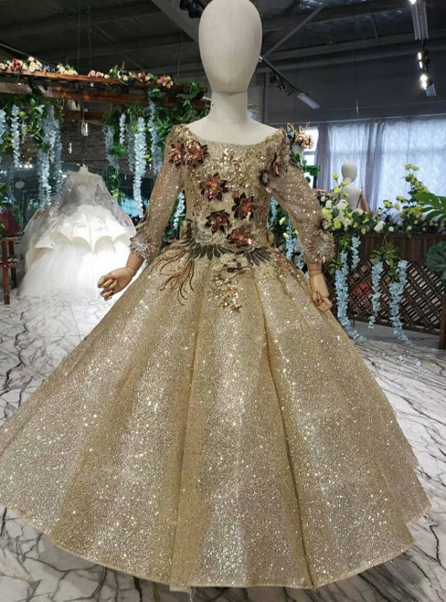 Gold Ball Gown Sequins Appliques Long Sleeve Luxury Flower Girl Dress