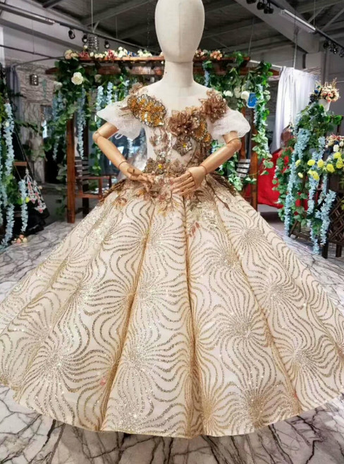 Gold Ball Gown Sequins Puff Sleeve Appliques Flower Girl Dress