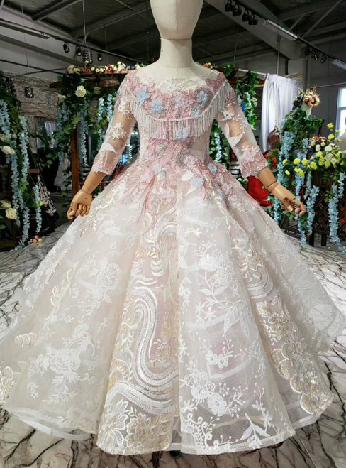 Champagne Tulle Lace Long Sleeve Long Sleeve Appliques Flower Girl Dress With Beading