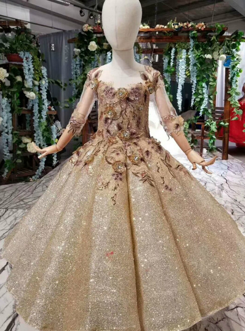 Gold Ball Gown Sequins Long Sleeve Appliques Flower Girl Dress