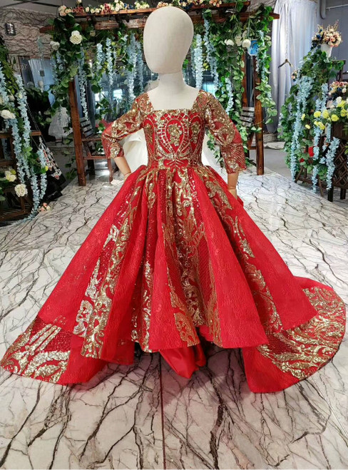 Red Ball Gown Tulle Sequins Appliques Long Sleeve Square Flower Girl Dress
