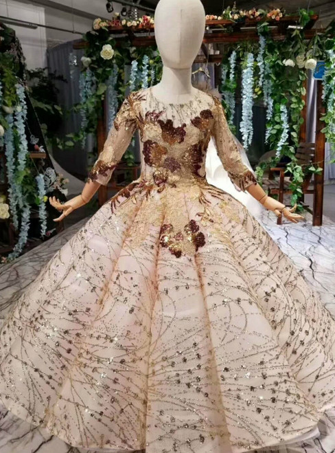 Fashion Gold Ball Gown Sequins Long Sleeve Appliques Flower Girl Dress