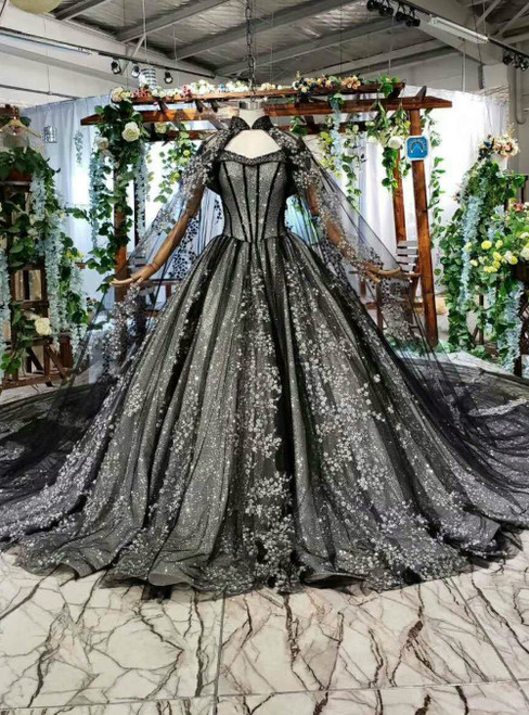 Black Ball Gown Tulle Sequins Off the Shoulder Luxury Wedding Dress With Long Shawl