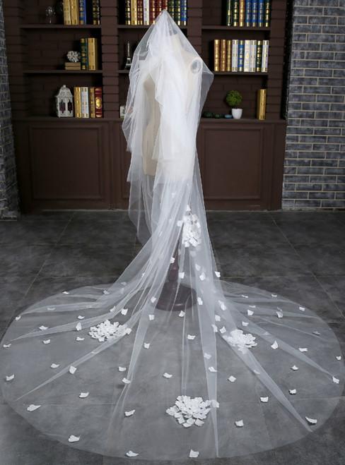 In Stock:Ship in 48 Hours Bride White Tulle Flower Wedding Veil