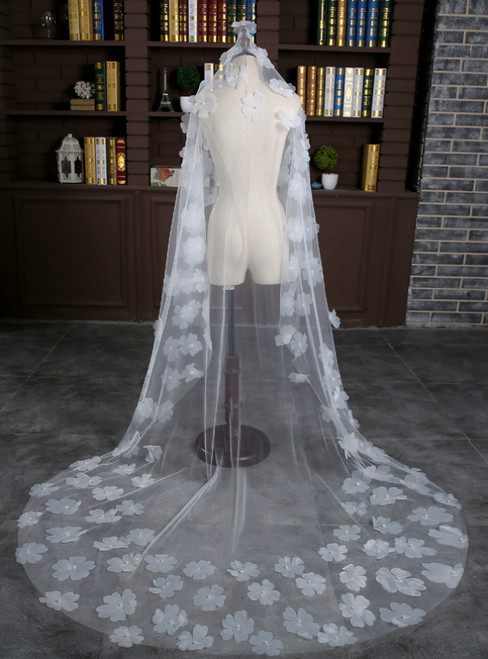 In Stock:Ship in 48 Hours Bride White Tulle Pearls Flower Wedding Veil