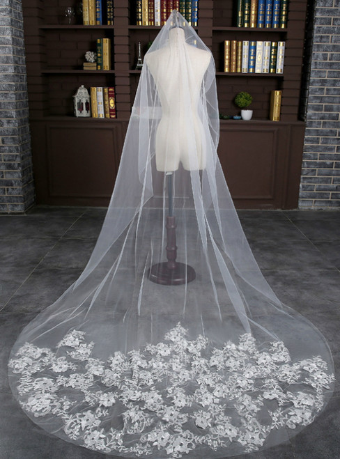 In Stock:Ship in 48 Hours White Tulle Appliques Bride Veil