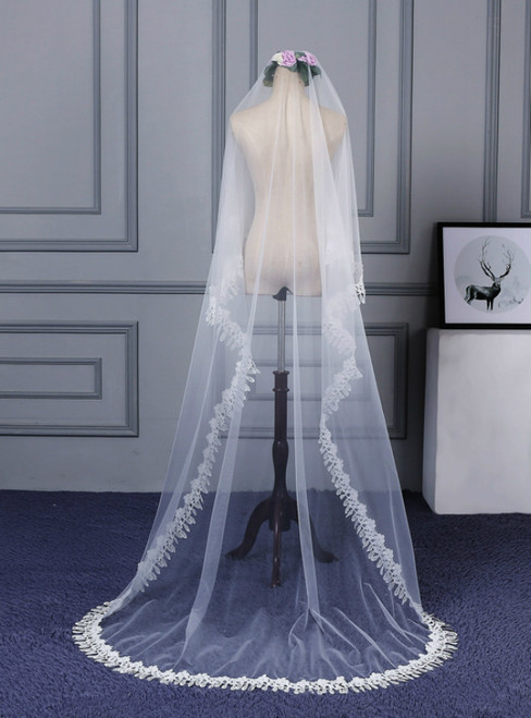 In Stock:Ship in 48 Hours Simple Tulle Lace Wedding Bride Veil