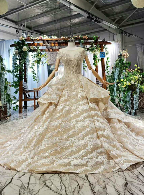 Champagne Gold Ball Gown Sequins Appliques Cap Sleeve Backless Luxury Wedding Dress