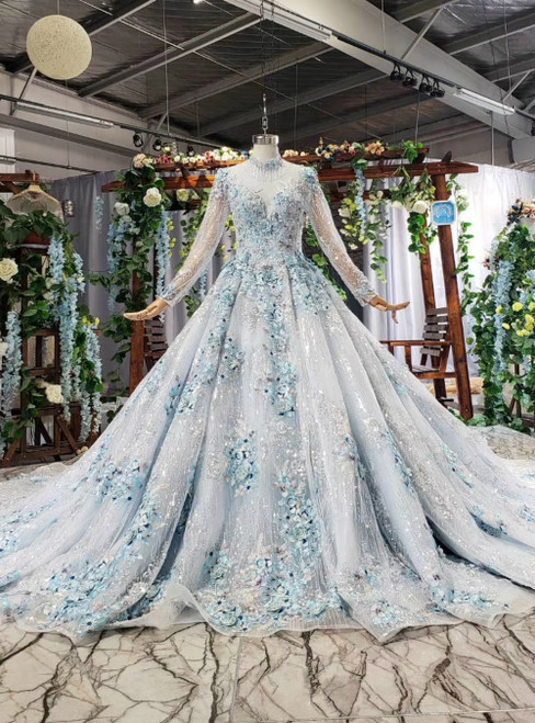 Blue Ball Gown Sequins Long Sleeve High Neck Long Sleeve Appliques Luxury Wedding Dress