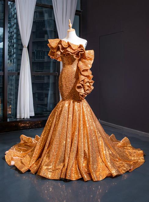 Gold Yellow Mermaid Sequins Asymmetrical Neck Ruffles Prom Dress