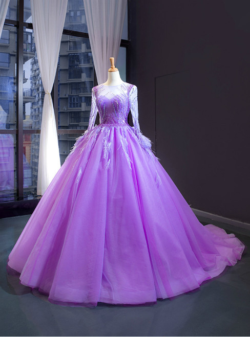 Purple Ball Gown Tulle Long Sleeve Beading Sequins Luxury Prom Dress