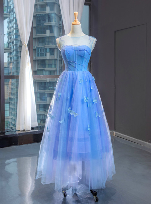 A-Line Blue Tulle Sleeveless Butterfly Backless Beading Prom Dress