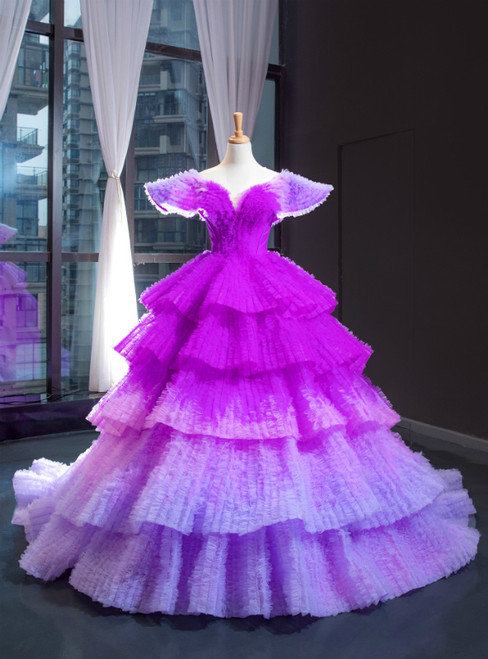 Purple Ball Gown Tulle V-neck Tiers Luxury Prom Dress With Train