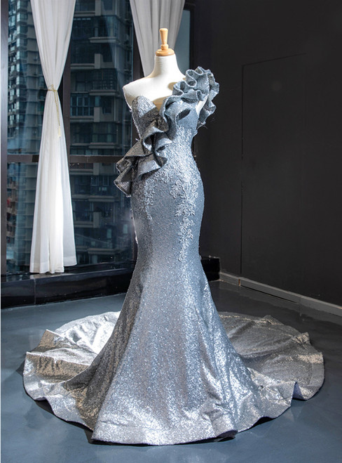 Silver Gray Mermaid Sequins Sleeveless Ruffles Appliques Prom Dress