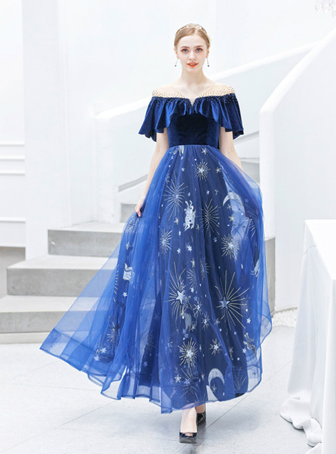 In Stock:Ship in 48 Hours Blue Tulle Star Sequins Prom Dress