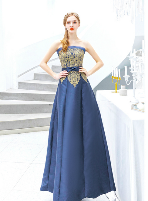 In Stock:Ship in 48 Hours Navy Blue Satin Appliques Prom Dress