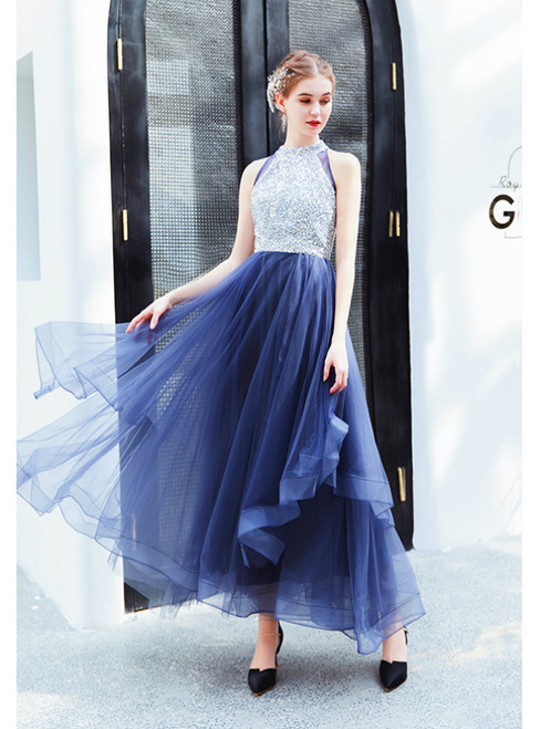 In Stock:Ship in 48 Hours Blue Tulle Sequins Ankle Length Prom Dress