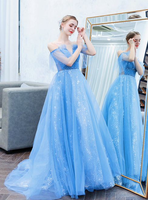 In Stock:Ship in 48 Hours Blue Tulle Sequins Long Prom Dress