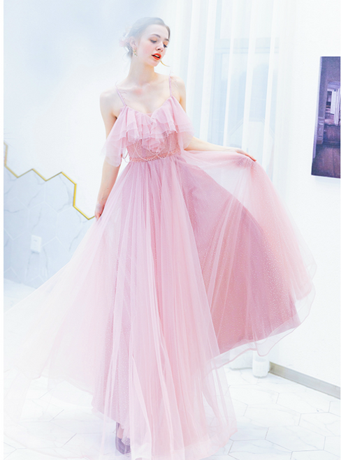 In Stock:Ship in 48 Hours Pink Tulle Spaghetti Straps Prom Dress With Beading