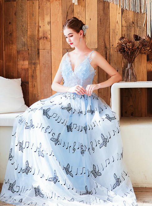 In Stock:Ship in 48 Hours Light Blue Tulle V-neck Embridery Prom Dress