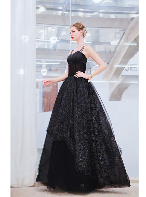 In Stock:Ship in 48 Hours Black Tulle Sequins Spaghetti Straps Prom Dress
