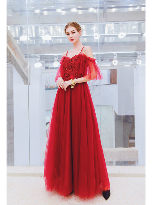 116a7618eb35b In Stock:Ship in 48 Hours Burgundy Hi Lo Tulle Appliques Prom Dress