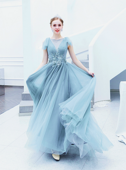 In Stock:Ship in 48 Hours Blue Tulle Appliques Pleats Prom Dress