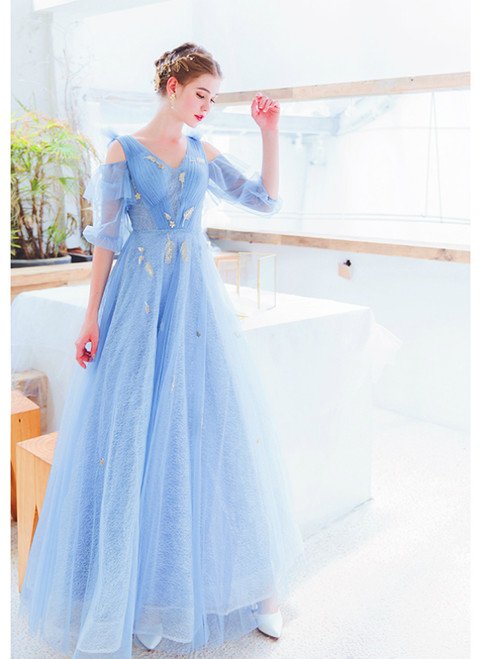 In Stock:Ship in 48 Hours Blue V-neck Short Sleeve Prom Dress