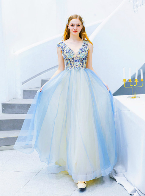 In Stock:Ship in 48 Hours Blue V-neck Tulle Appliqus Prom Dress