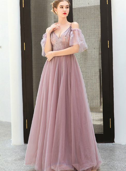 In Stock:Ship in 48 Hours Pink Tulle Spaghetti Straps Appliques Prom Dress