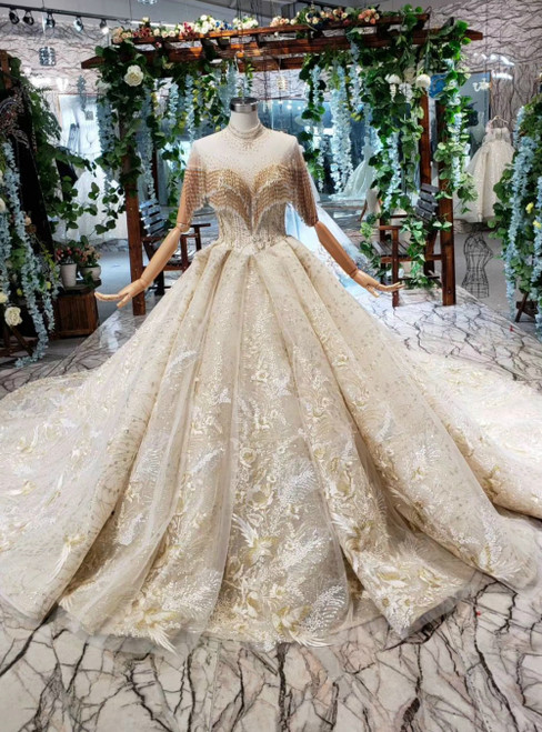 Champagne Tulle Sequins Appliques High Neck Long Sleeve Backless Luxury Wedding Dress