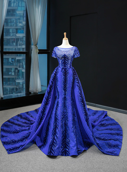Blue Mermaid Velvet Backless Cap Sleeve Prom Dress With Removable Train