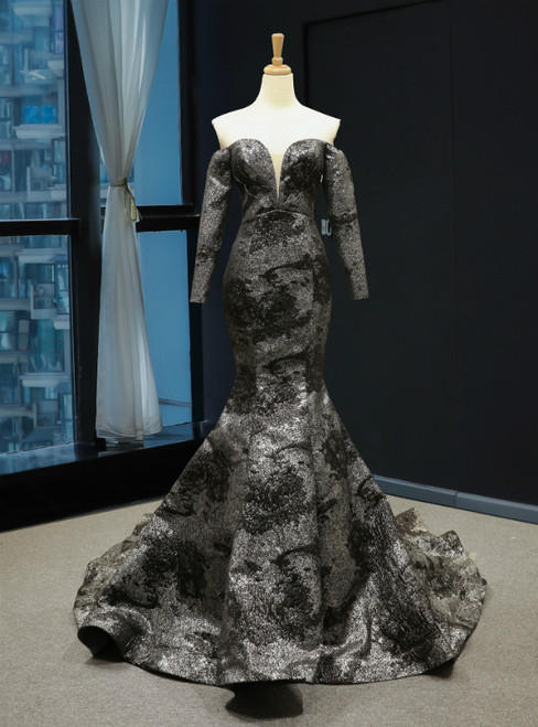 Memraid Black And Silver Color Off the Shoulder Long Sleeve Prom Dress