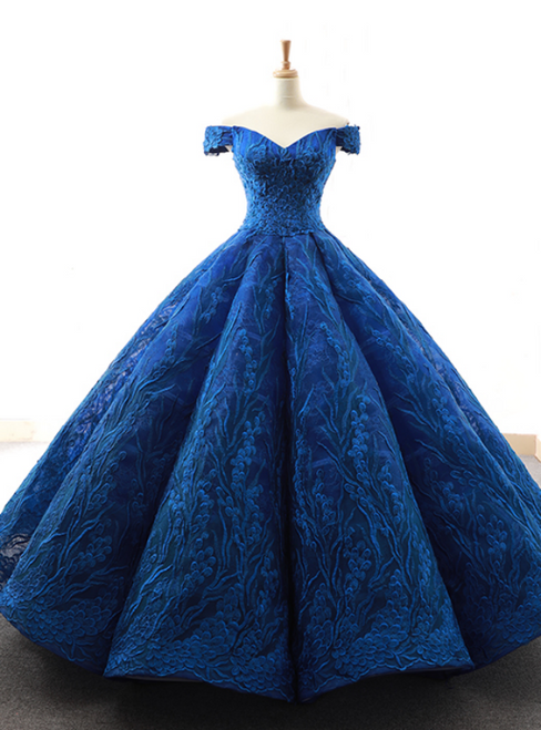 Royal Blue Ball Gown Tulle Lace Appliques Off the Shoulder Prom Dress