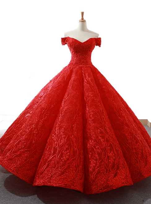 Red Ball Gown Tulle Lace Appliques Off the Shoulder Prom Dress