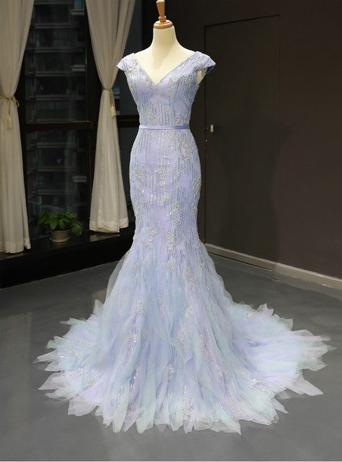 Blue Tulle Mermaid Deep V-neck Backless Prom Dress With Beading